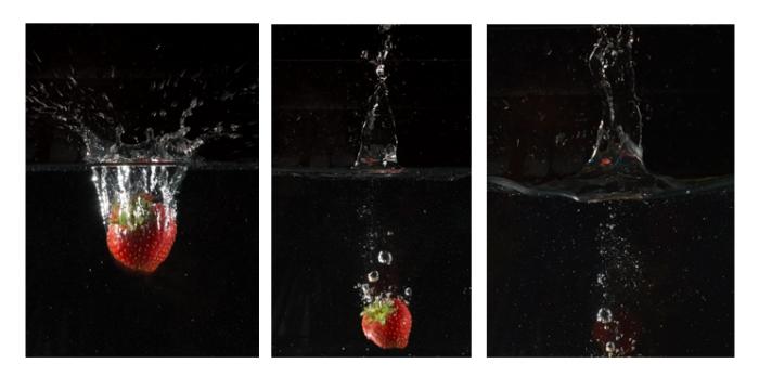 Bilderreihe Erdbeere taucht ins Wasser